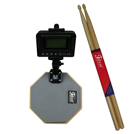 fleor 1 Set de metrónomo Digital con baquetas de arce y mancuernas Almohadilla de carga para