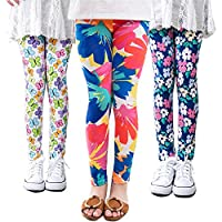 MarJunSep 3 Packs Girls Leggings Pants Stretch Printing Flower Toddler Leggings Kids