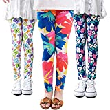3 Packs Girls Leggings Pants Stretch Printing Flower Toddler Leggings Kids (8-9 Years, Pack-A)