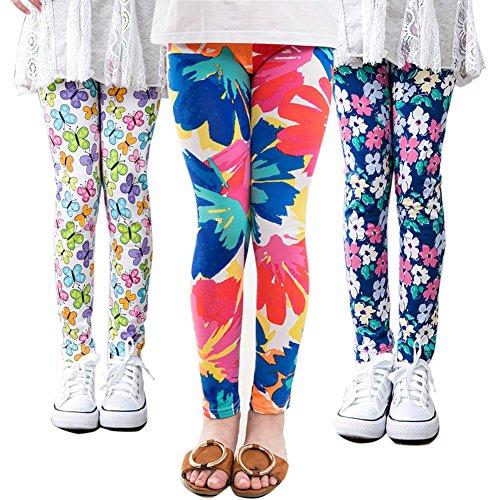 MarJunSep 3 Packs Girls Leggings Pants Stretch Printing