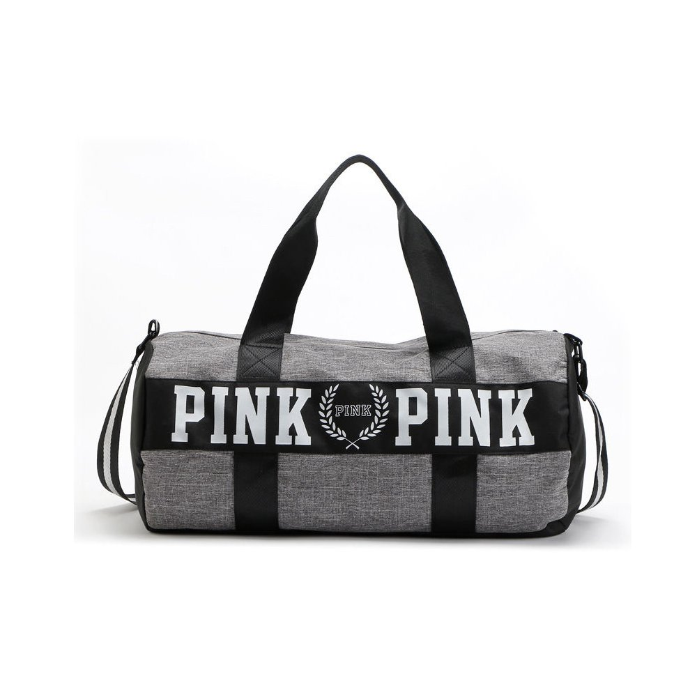 VS Love PINK Double Strap Duffle Gym Bag Yoga Bag With Logo Black or Grey - Fast Shipping (Grey)