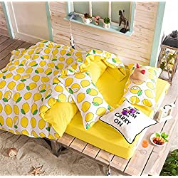 Kpblis Unisex Bedding Sets 4pcs Cartoon Bedding Sets, Bedding Duvet Cover Set for Children & Student - King/Fruit Lemon Design Bed Sheet Set