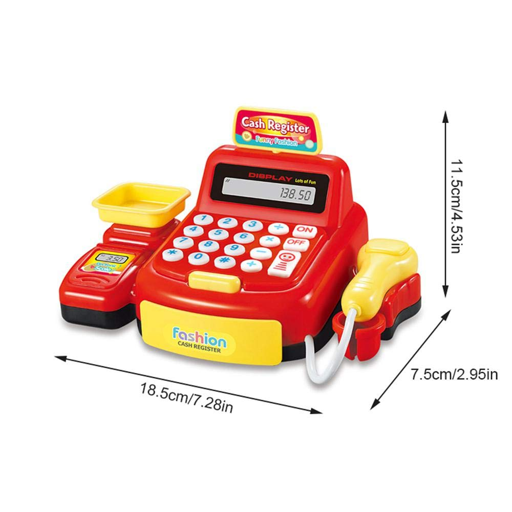 Toddler Interactive Learning Pretend Play Supermarket Shop Electronic Toy Cash Register with Money,Credit Card,Scanner,Calculator for Kids Boys and Girls Baiwka Cash Register Toy with Scanner
