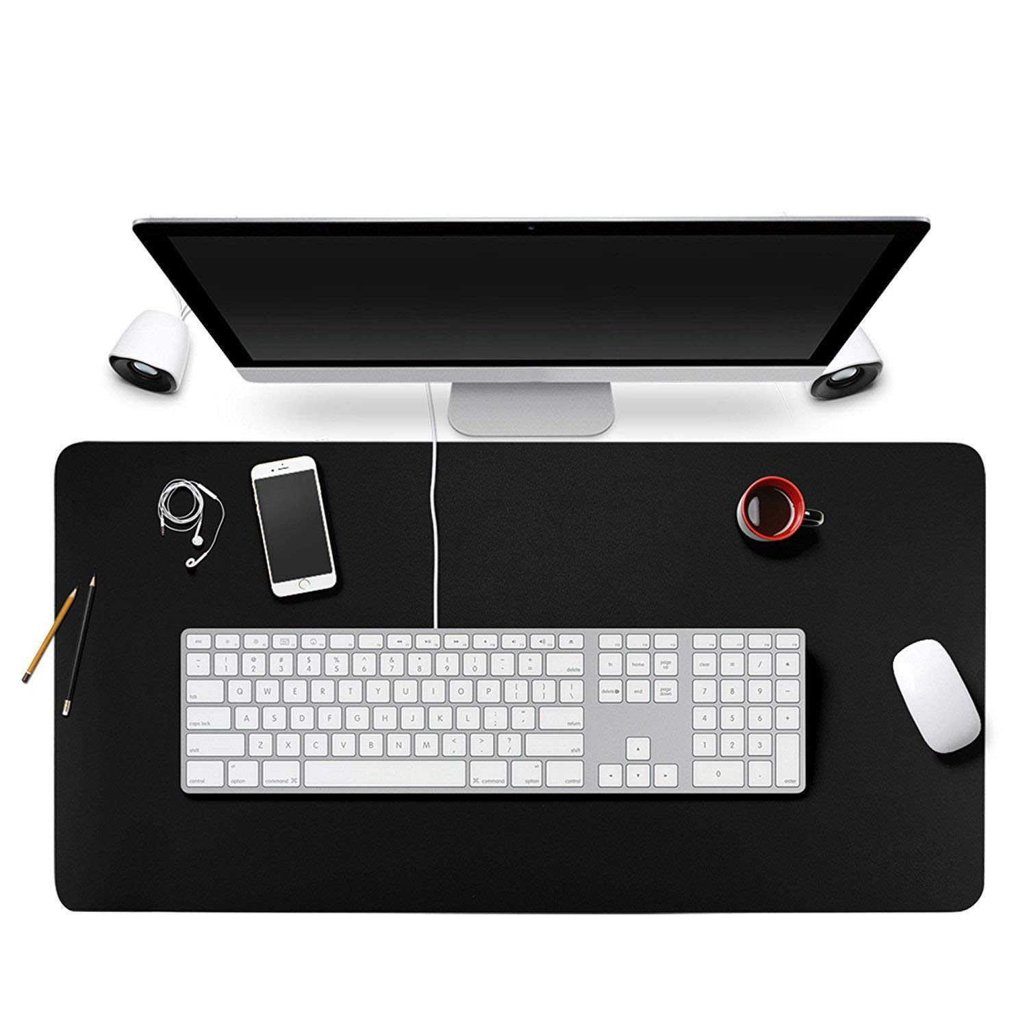"""BUBM Desk Pad Protector 31.5"""" x 15.7"""", PU Leather Desk Mat Blotters Mouse Pad Organizer with Comfortable Writing Surface(Black)"""