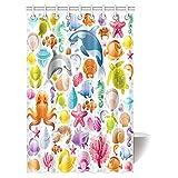 Art Deco Shower Curtain INTERESTPRINT Sea Animals Decor Shower Curtain, Cartoon Art with Fish Seahorse Starfish Dolphin Coral Underwater Life Kids Deco Bathroom Shower Curtain Set with Hooks, 48 X 72 Inches