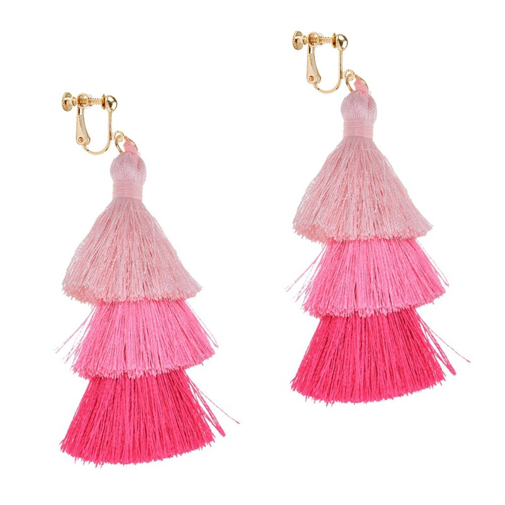 Dangle Earring Clip on Screw Back Layered Long Tassel Thread Bohemia for Women Banquet Pink