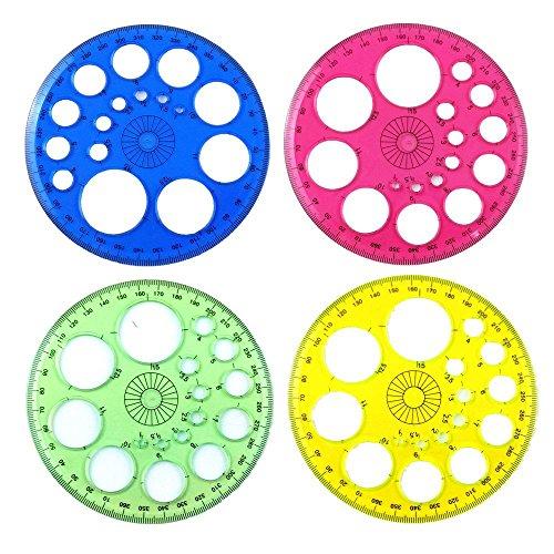 Honbay 4pcs Colorful 360 Degree Circular Plastic Protractor Ruler Template(Random 4 Colors)