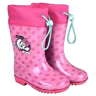 new product 26ffa 6b2bf PERLETTI Stivali Pioggia Rosa Disney Minnie Bambina - Stivaletti  Impermeabili Bimba con Minni e Pois Fucsia - Scarponcini Antipioggia con  Suola ...