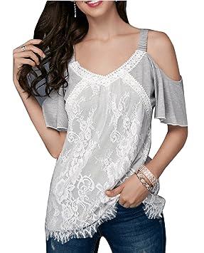 Wenchuang Blusa Mujer Camisetas Sin Mangas Blusas Floreadas para con Hombros Descubiertos Camisola Tops Crop Tops