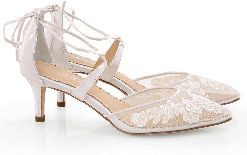 Pump Kitten Heel Lace Wedding AML Ivory