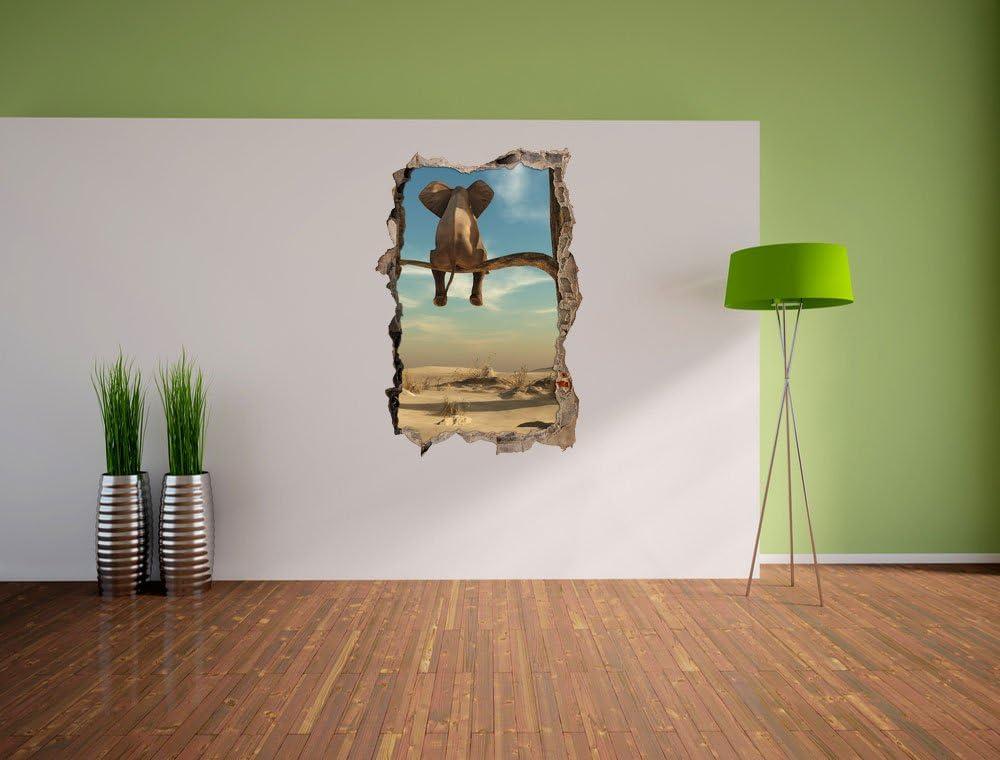 3D-Look Papier Wandtattoo Aufkleb sitzender Elefant auf einem Ast in der Wüste