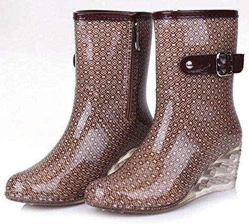 IDIFU Womens Comfy Printed Mid Wedge Heels Mid Calf Rain Boots With Side Zipper Beige 1 lCglf1f