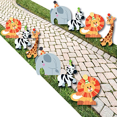 Jungle Party Animals - Elephant, Giraffe, Lion and Zebra Lawn Decorations - Outdoor Safari Zoo Animal Birthday Party or Baby Shower Yard Decorations - 10 Piece -