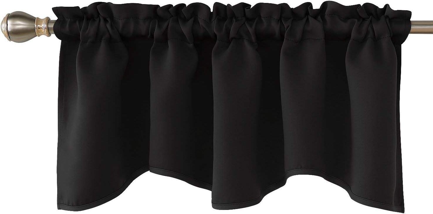 Blackout Window Valance for Kitchen Solid Rod Pocket Scalloped Valance Short Curtain 52 x 18 Inch Black 1 Panel