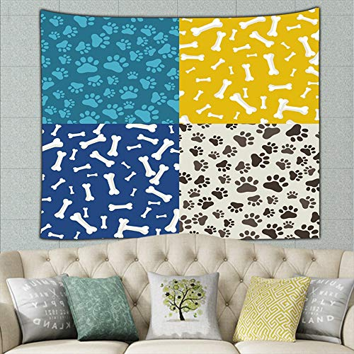 (wrtgerht Domestic Animal paw Print Set Animals Wildlife pet Tapestry Wall Hanging, Hippie Sunset Forest Tapestry, Wall Art Decoration for Bedroom Living Room Dorm, Window Curtain Picnic Mat 80ʺ × 60ʺ)