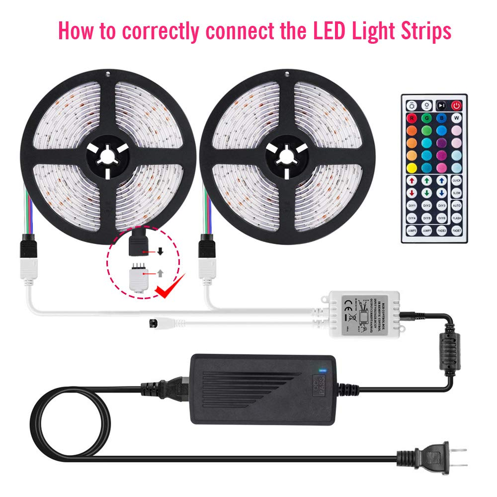 DLIANG DreamColor LED Strip Light Kit 32.8ft Flexible Tape Lights 5050 SMD RGB 300 LEDs Waterproof IP65 Rope Light with 44 Keys IR Remote Controller and 12V Power Adapter for Home Kitchen Party Deco