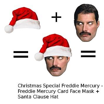 1944fa2057d Christmas Freddie Mercury Mask + Santa Hat Set  Amazon.co.uk  Toys   Games