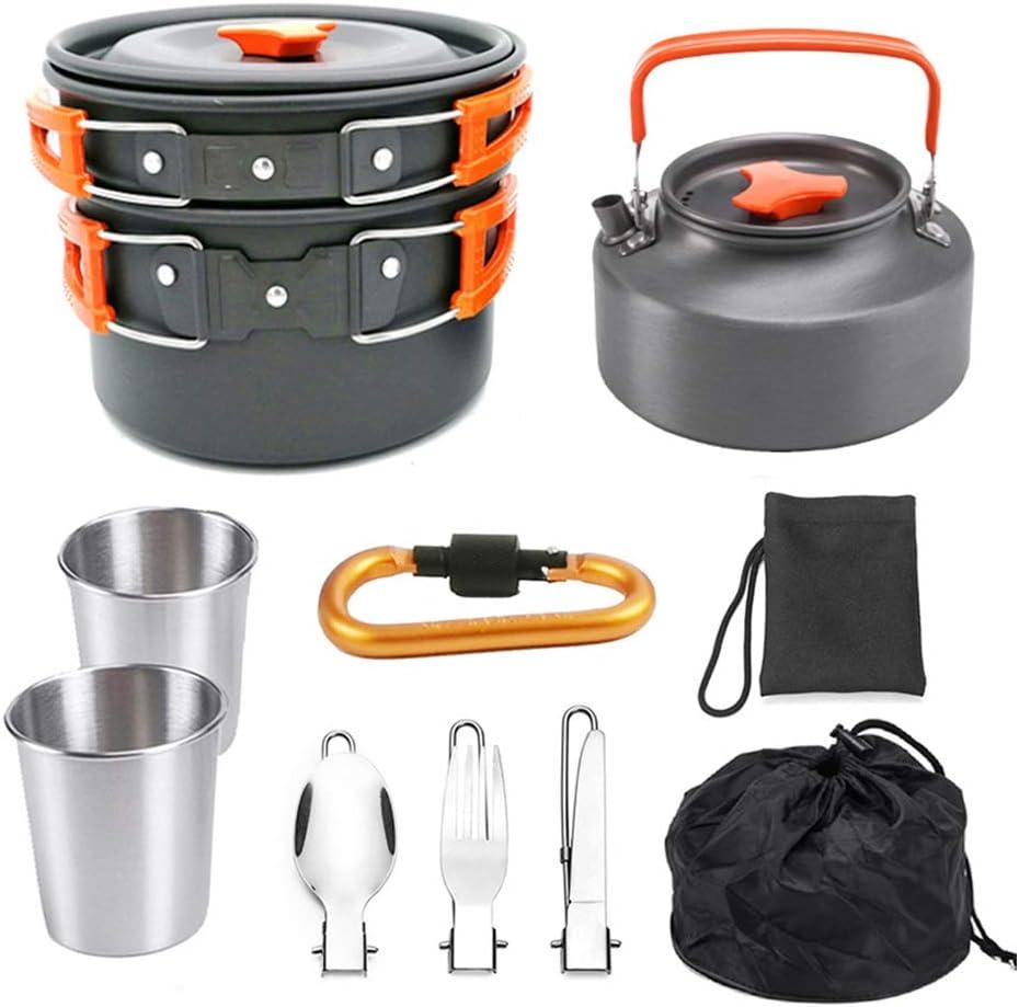 DADD Juego de Utensilios de Cocina portátiles para Acampar al Aire Libre Juego de Utensilios de Cocina de Aluminio para 2-3 Personas Picnic Trekking y Hikin-Orange