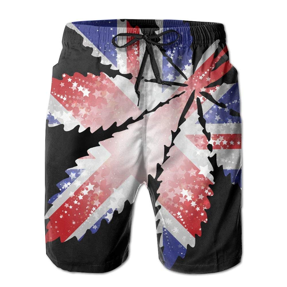 England Flag Leaf Weed Newest Man Camping Summer Quick Dry Board Shorts