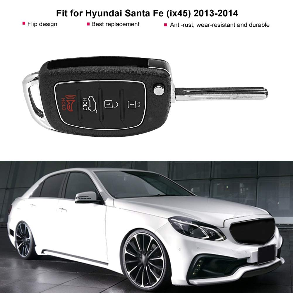 Terisass Car Intelligent Key Fob Case Shell 4 Buttons Automobile Remote Control Flip Folding Smart Key Case Shell Cover Replacement No Chips Inside for Hyundai Santa Fe ix45 2013 2014