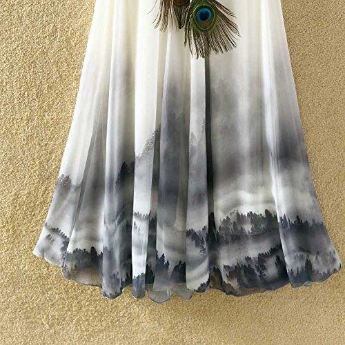 Ashir Aley Summer Floral Flowy Chiffon Long Maxi Skirt (Grey) by Ashir Aley (Image #8)