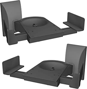 WALI Dual Side Clamping Bookshelf Speaker Wall Mounting Bracket for Large Surrounding Sound Speakers, Hold Up to 120 lbs. (SWM201XL), Black
