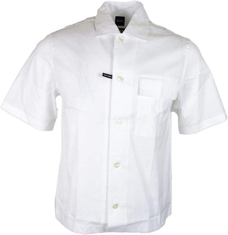 BOSS Hugo Ned_P Camisa de manga corta de ajuste relajado, color blanco: Amazon.es: Ropa y accesorios
