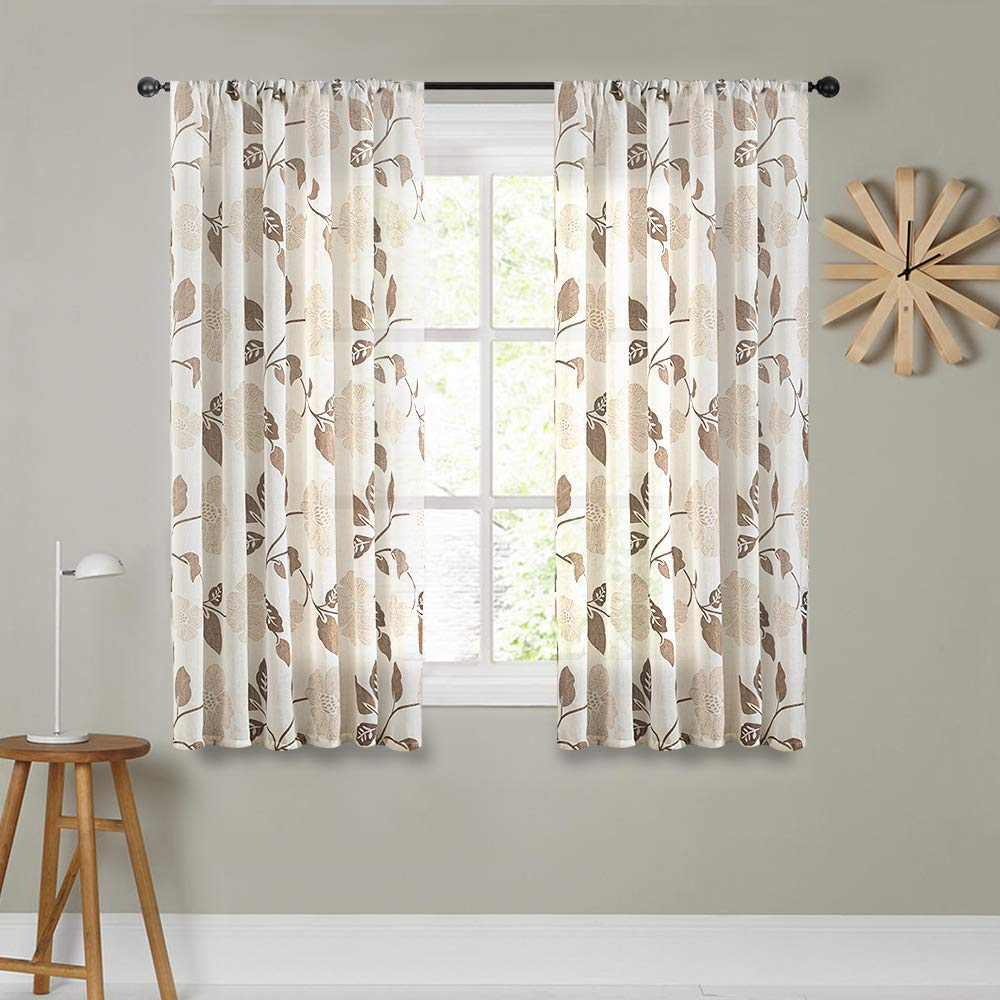 MRTREES Sheer Curtains Floral Printed 45 inch Length Kitchen Linen Blend Textured Short Curtain Sheers Brown Flower Leaves Print Living Room Drapes Basement Window Treatment Set Rod Pocket 2 Panels