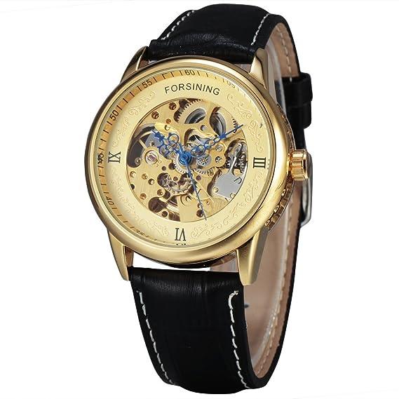 Forsining 2017 serie azul especial manos fundición de oro caso reloj hombres Top marca Luxury automático reloj mecánico reloj hombres: Amazon.es: Relojes