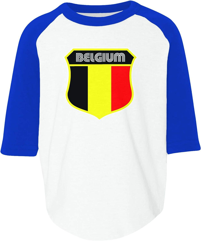 Amdesco Belgium Flag Crest Belgian Toddler Raglan Shirt