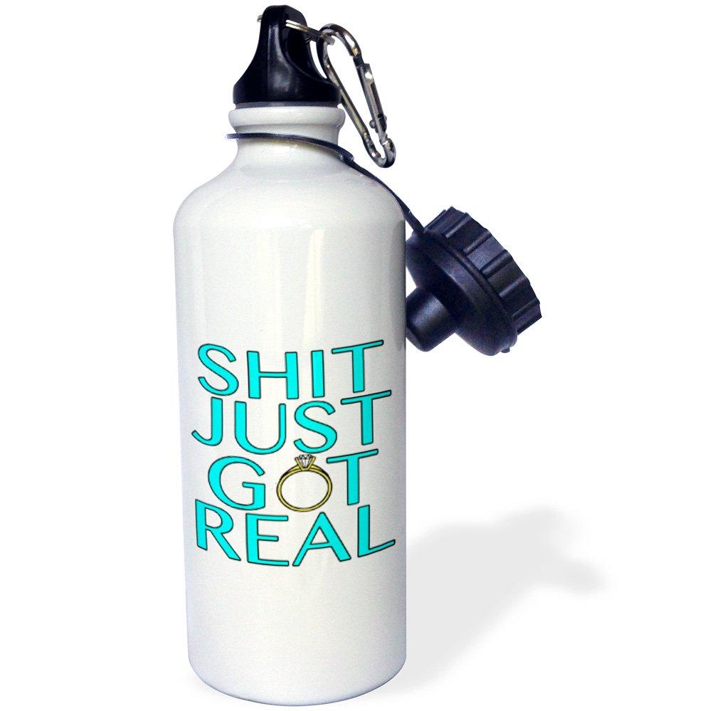 3dRose wb/_222828/_1 Shit Just Got Real Aqua Sports Water Bottle White 21 oz