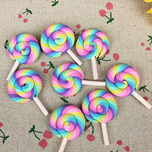 Nisson Lollipop Mold - 10pieces Flat Back Clay Cabochon Kawaii Rainbow Color Lollipop DIY Flatback Scrapbooking Embellishment Decoration Craft:2843mm