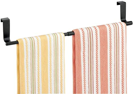 Amazon Com Mdesign Adjustable Expandable Kitchen Over Cabinet Towel Bar Rack Hang On Inside Or Outside Of Doors Storage For Hand Dish Tea Towels 9 25 To 17 Wide Matte Black