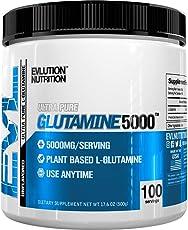 Evlution Nutrition L-Glutamine 5000, 5g Pure L Glutamine in Each Serving, Plant Based, Vegan, Gluten-Free, Unflavored Powder (100 Servings)
