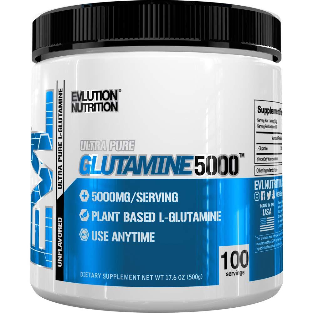 Evlution Nutrition L-Glutamine 5000, 5g Pure L Glutamine in Each Serving, Plant Based, Vegan, Gluten-Free, Unflavored Powder (100 Servings) by Evlution