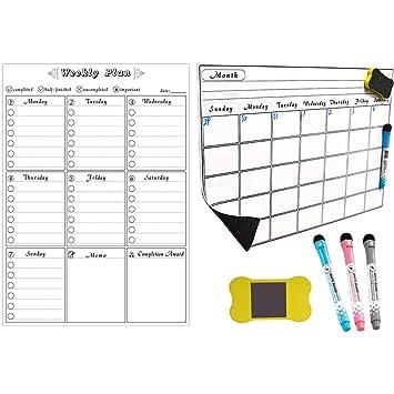 Calendario magnético de borrado en seco mensual/semanal ...