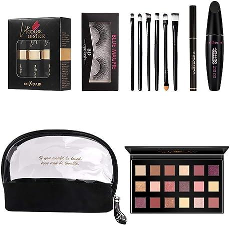 piabigka ▾Maquillaje Profesional , Maquillaje Set Makeup Set 15pcs Mixdair Bolsa De Maquillaje Lápiz Labial Sombra De Ojos Rímel Maquillaje Cepillo Set: Amazon.es: Belleza