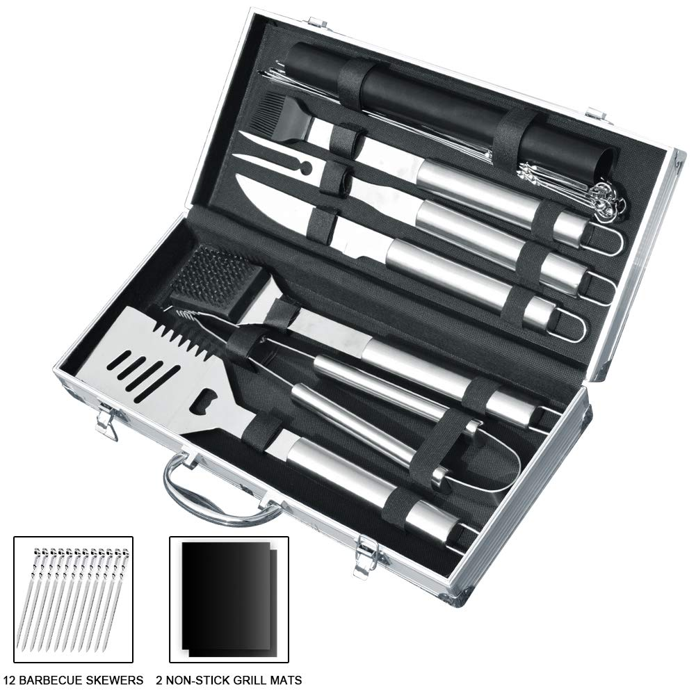 Slashome 21 Pieces BBQ Grill Tools Set Heavy Duty Stainless Steel Barbecue Grilling Utensils Include Non-Stick Grill Mats Barbecue Accessories - with Aluminium Storage Case