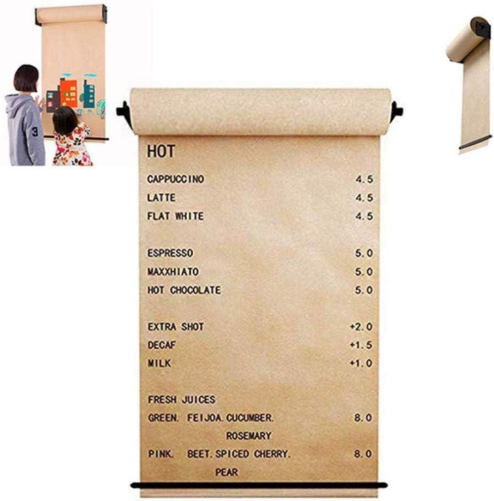 壁に取り付けられたクラフト紙ロールホルダーオフィスのカフェやホーム用のスタイリッシュな壁紙ホルダーホワイトボードフリップチャートまたは案内板の革新的な代替品,30cm