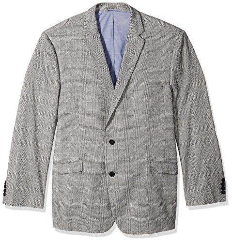 U.S. Polo Assn. Men's Big and Tall Plaid Sport Coat, Black/White Plaid, 60 Regular (Cotton Plaid Blazer)