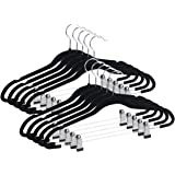 Qiangson Skirt Hangers Pants Hangers with clips 20 Pack Non-Slip Velvety Smooth Texture Clips Clothes Hangers Hook-17.7inch Outfit Hanger Black