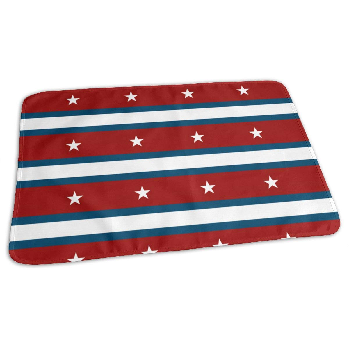 Osvbs Lovely Baby Reusable Waterproof Portable American Flag Stripe Pentagon Changing Pad Home Travel 27.5''x19.7'' by Osvbs