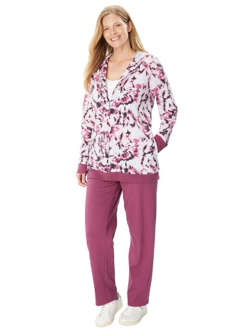 Women's Plus Size Tie Dye Knit Jacket and Pants Set. Soft Magenta Tie Dye,18/20