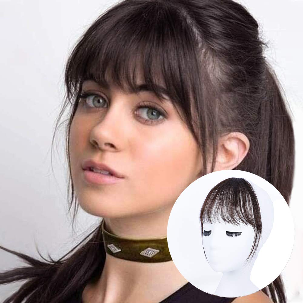 BOGSEA Bangs Hair Clip in Bangs Human Hair Wispy Bangs Fringe with Temples  Hairpieces for Women Clip on Air Bangs Flat Neat Bangs Hair Extension for  ...