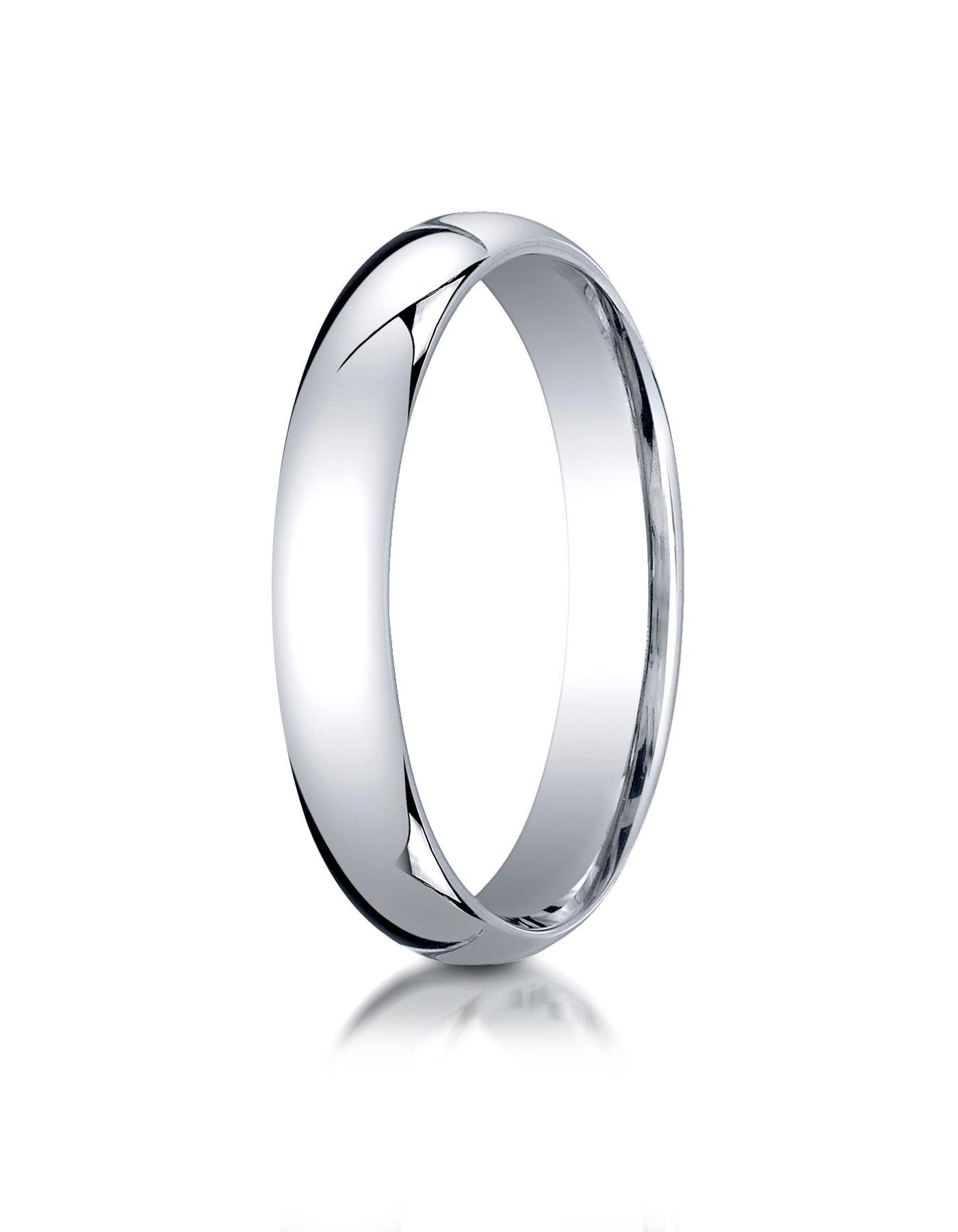 Mens 14K White Gold, 4mm Slim Profile Comfort-Fit Ring (sz 13)