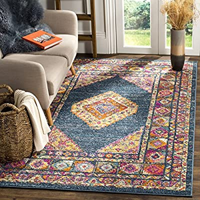 Safavieh Madison Collection MAD133C Blue and Fuchsia Bohemian Chic Medallion Area Rug (3' x 5') - The high-quality polypropylene pile fiber adds durability and longevity to these rugs The power loomed Construction adds durability to this rug, ensuring it will be a favorite for many years This traditional, Vintage rug will give your room an elegant accent - living-room-soft-furnishings, living-room, area-rugs - 617 UULoYVL. SS400  -