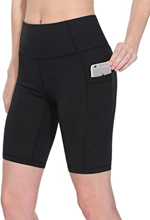 GYMDIARY High Waist Yoga Shorts Tummy Control Workout Running Leggings with Pockets