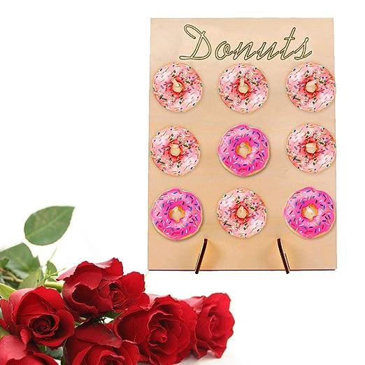 Ztoma Donut Pared, Madera Donut Pared Soporte, Caramelo Dulce Carrito Compra para Cumpleaños Fiesta Boda Decoración