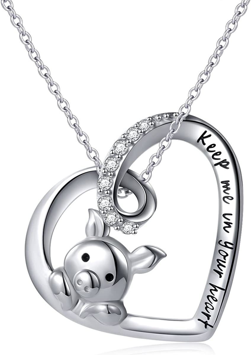 925 Sterling Silver Cute Pig Pendant Necklace Earrings Ring Bracelet for Women Girls Jewelry Birthday Christmas Gift