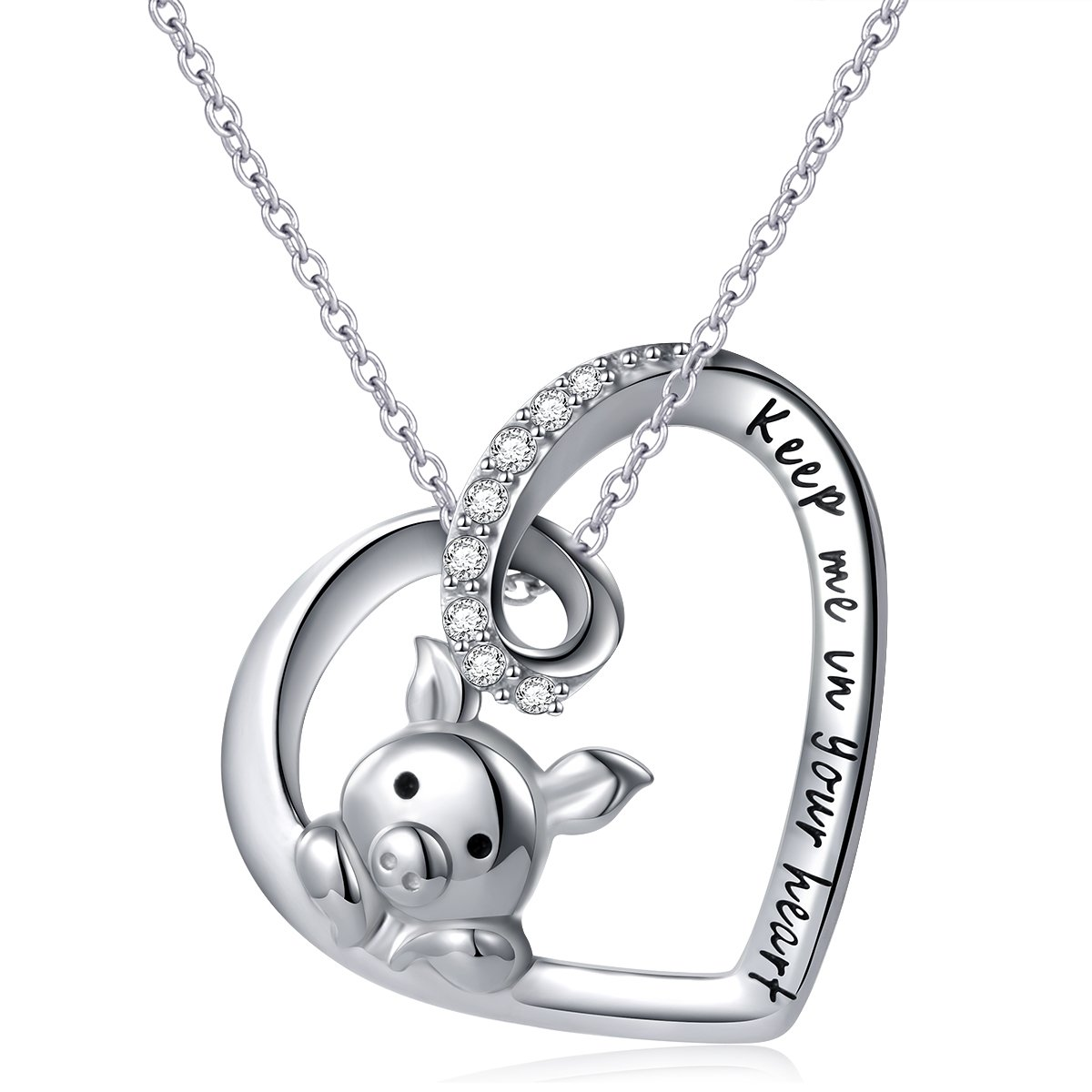 925 Sterling Silver Engraved''Keep Me in Your Heart'' Cute Pig Pendant Necklace for Women,18''